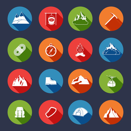 Mountain icons flat set with outdoor travel camping equipment isolated vector illustration Vector