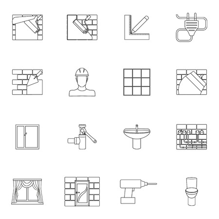 Home repair diy renovation outline icons set with work tools isolated illustration Vector