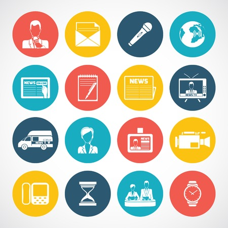telecast: Media news icons set with television internet broadcasting technology isolated vector illustration Illustration
