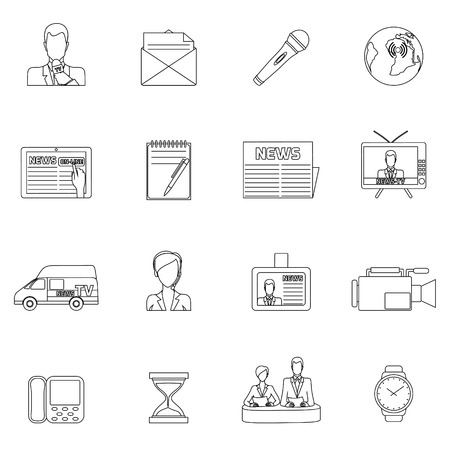 telecast: Media news icons outline set with speaker posting shooting report isolated illustration