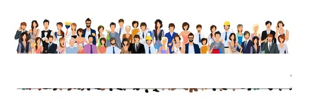 crowd of people: Large group crowd of people adult professionals paper horizontal banner illustration