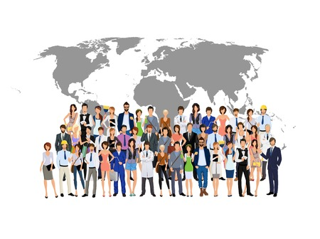 Large group crowd of people adult professionals with world map on background illustration Illustration