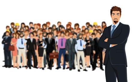 foreground: Large group of people adult professionals business team with attractive young man on foreground illustration Illustration
