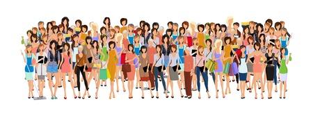 foules: Grande foule de groupe de diff�rentes femmes en �ge de professionnels f�minins illustration d'affaires