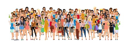 Large group crowd of different age women female professionals businesswomen illustration