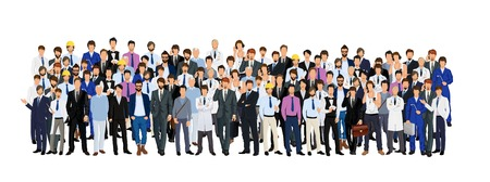 professions: Large group crowd of different age men male professionals businessmen illustration