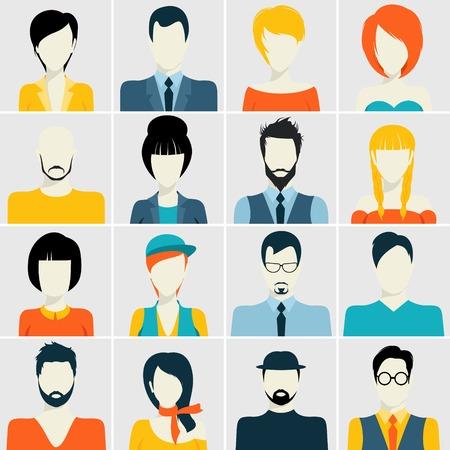 foto carnet: Gente avatar macho y hembra humana se enfrenta a iconos de estilo pasaporte foto establecidos, ilustración,