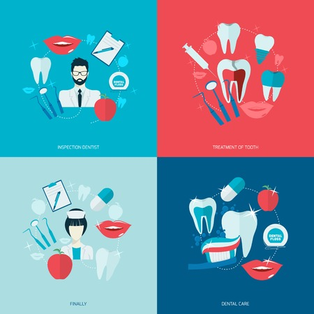Teeth dental care health flat icons set with inspection dentist treatment isolated illustration