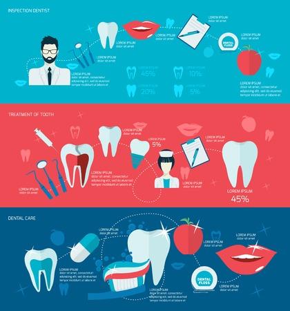 dental healthcare: Dientes cuidado dental bandera salud boca fija con tratamiento aislado dentista inspecci�n ilustraci�n vectorial