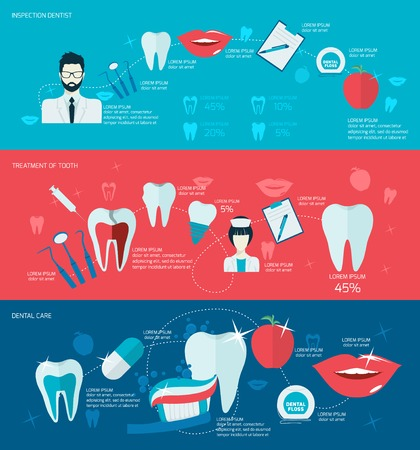dental pulp: Teeth dental care mouth health banner set with inspection dentist treatment isolated vector illustration