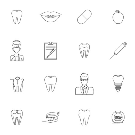 syringe injection: Dental health outline icons set with tooth mouth pill apple isolated illustration