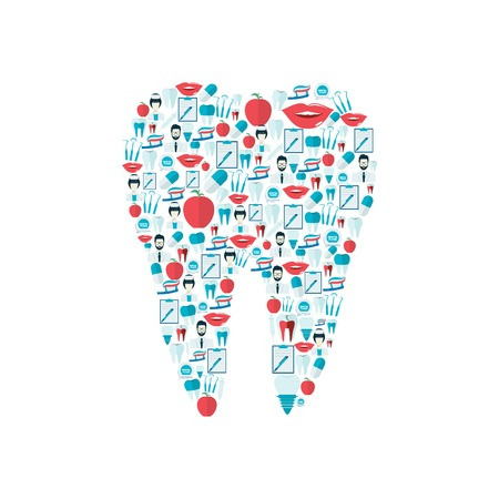 stomatology icon: Dental health stomatology instrument flat icons set in human tooth shape illustration Illustration