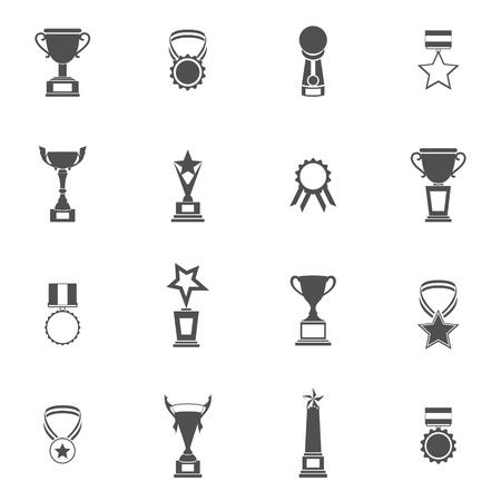 award winning: Trophy icons black set of champion medallion winner prize first place laurel wreath isolated illustration Illustration