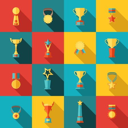 trofeo: Trofeo de los iconos conjunto plana de éxito medallón medalla de ganador del premio aislado ilustración vectorial