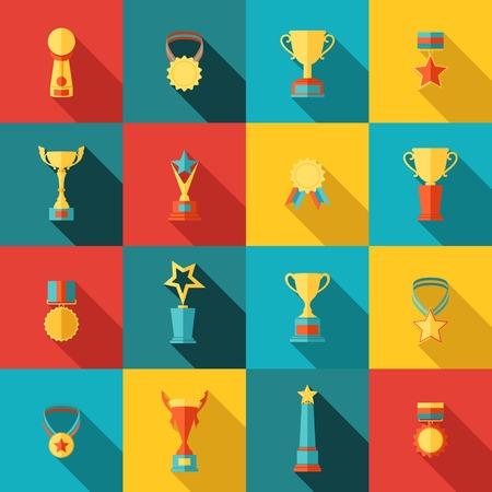 vítěz: Trophy ikony plochý sadu medailon úspěch vítěz medaili izolované vektorové ilustrace Ilustrace