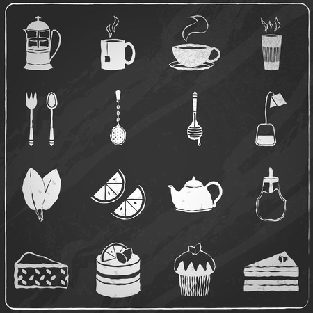 Tea icons chalkboard set with lemon honey teabag spoon isolated illustration Vector