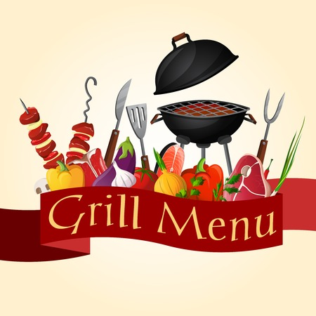 Meat fish and vegetables bbq barbecue grill party background vector illustration Çizim