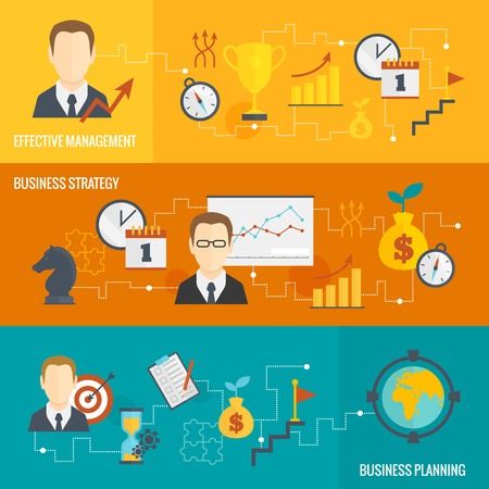 goal: Business strategy planning effective management banner set isolated vector illustration Illustration