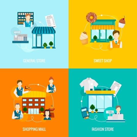 bâtiments de magasins icônes plats mis à la mode doux magasin général commercial illustration Vecteurs