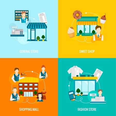 Store buildings flat icons set with sweet fashion general shop mall illustration Illustration