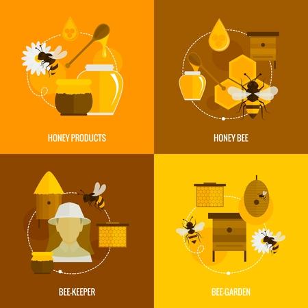 miel de abeja: Iconos de la abeja de la miel conjunto plana con jard�n aislada productos apicultor ilustraci�n