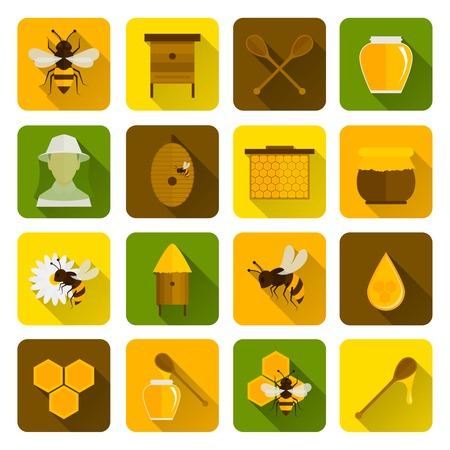 beekeeper: Bee honey icons flat set with beekeeper honeycomb beehive isolated vector illustration