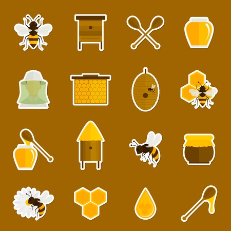 Bee honey icons stickers set with spoon jar bumblebee isolated vector illustration Illustration