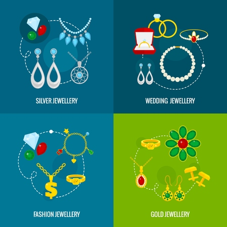 jewelry: Jewelry icons flat set of silver gold wedding fashion jewellery isolated illustration