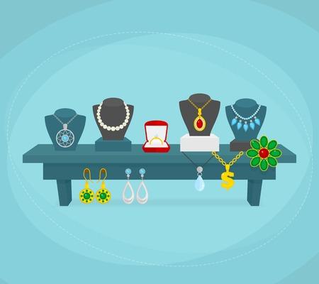 Sieraden winkel scherm concept met zilveren gouden bruiloft sieraden illustratie Stock Illustratie