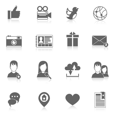 Mobile phone interface social media applications black icons set isolated illustration Vector