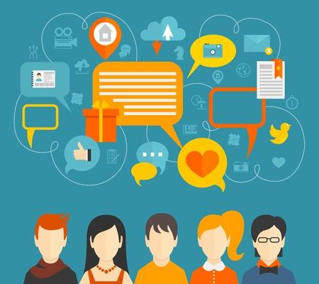 Réseau social media icons concept avec des personnes avatars et des bulles illustration.