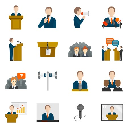 debate: Public speaking icons set with business presentation politician conference isolated illustration