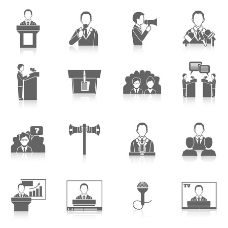 orator: Public speaking black icons set with orator lecturer public speaker isolated illustration