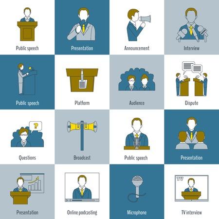 hablar en publico: Hablar en público iconos de la línea plana establecen con el anuncio de presentación del lenguaje entrevista ilustración aislada Vectores