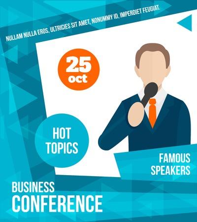oratoria: Conferencia de negocios Hablar en público famosa persona altavoz cartel ilustración