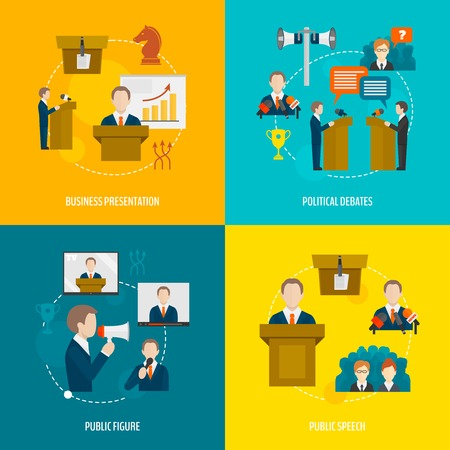 speaking: Public speaking flat icons set of business presentation political debates figure speech isolated illustration