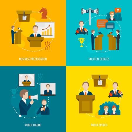 public services: Public speaking flat icons set of business presentation political debates figure speech isolated illustration