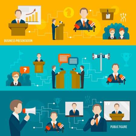 conference speaker: Public speaking banner set of business presentation public figure isolated illustration Illustration