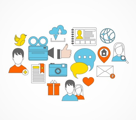 personal service: Social network media flat set icons with personal page cloud service bookmark illustration