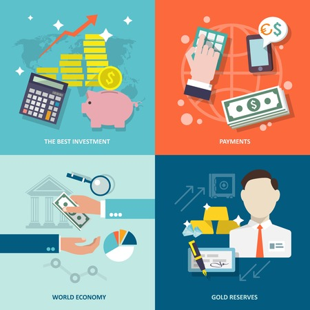 Bank service best investment payments world economy gold reserves flat icons set isolated illustration Stock Illustratie