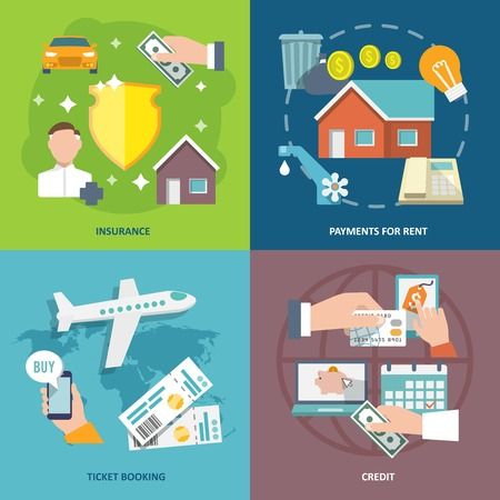 property insurance: Pay bill insurance rent payments ticket booking credit flat icons set isolated vector illustration Illustration