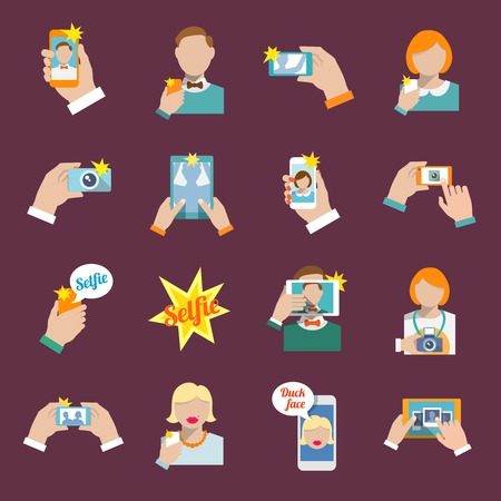 selfie: Selfie self portrait camera portrait photo taking flat icons set isolated illustration. Illustration