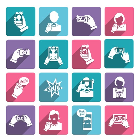 taking photograph: Selfie self portrait taking smartphone camera technology flat icons collection set isolated illustration