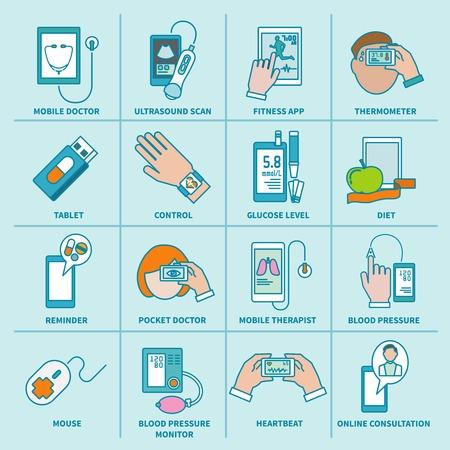 Digitale gezondheidszorg iconen vlakke lijn set van mobiele arts echo fitness app geïsoleerde illustratie