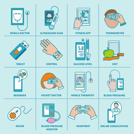 Digital health icons flat line set of mobile doctor ultrasound scan fitness app isolated illustration