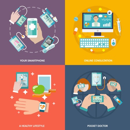 Digital health your smartphone online consultation healthy lifestyle pocket doctor icons flat set isolated illustration Illustration