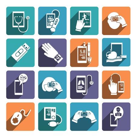 icone sanit�: Icone Digital Health set di glucosio idoneit� controllo di livello e la dieta app illustrazione isolato Vettoriali