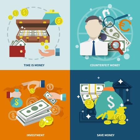 dinero falso: Iconos planos de cambio de mercado riqueza Money establecen con aislados inversi�n falsificaci�n ilustraci�n