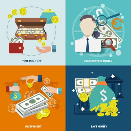 money wealth: Money wealth market exchange  flat icons set with counterfeit investment isolated illustration