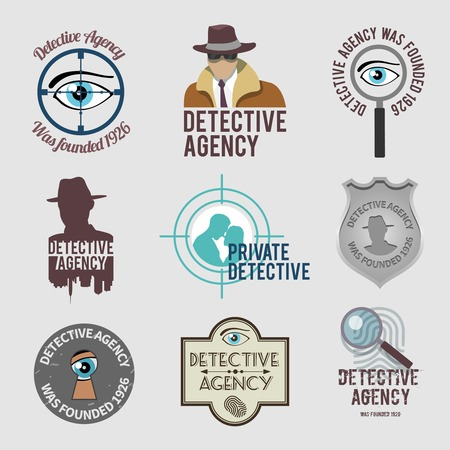 Police private detective agency labels badges and stamps set isolated illustration Illustration
